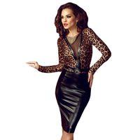 sexy tierdruck minikleid großhandel-Heißer Verkauf Sexy Tier Print Leder Splice Bodycon Midi Kleid LC60593 Herbst Stil Elegante Frau Knielangen Kleider Online