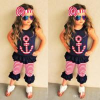 jeu de bandelettes pour enfants achat en gros de-Vêtements de bébé fille ensemble enfants Toddler Outfit Boutique vêtements costume noir chemise Shorts Pantalon Bandeau D'été Survêtement Playsuit