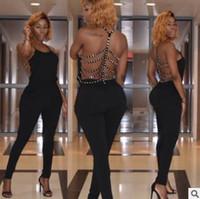 Wholesale Open Back Rompers - Summer women jumpsuits rompers Sexy open back nail drill jumpsuit Black hot-selling nightclub ladies pants Halter sleeveless