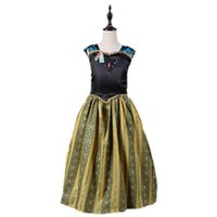 kız çocuklar altın elbiseler toptan satış-Bebek kız cosplay elbise karneval tatillerde çocuk uzun etekler çocuklar altın kraliçe giyinmek boyutu 100 110 120 130 140 150 160