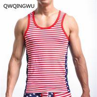 фитнес-флаг оптовых-Men Undershirts Male Hiphop Fashion American Flag Printed Vest Men's Undershirt Men Bodybuilding Fitness Sleeveless Undershirt
