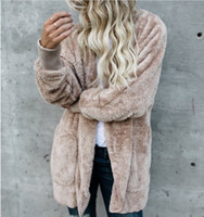 Womens Faux Fur Jackets Outerwear Winter Hooded Velvet Coats Pocket Design Loose Coats Women Clothing Warm Soft Outerwear Tops