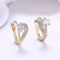 elmas şekilli kristaller toptan satış-KOKO sıcak moda pop kristal taklidi kalp şeklinde elmas romantik küpe kulak klipsi kulak damızlık toptan fabrika fiyat