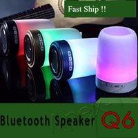 stylo usb achat en gros de-Haut-parleur sans fil Bluetooth porte-stylo support de téléphone carte haut-parleur disque U avec lumières colorées mini portable petit son Q6 60pcs
