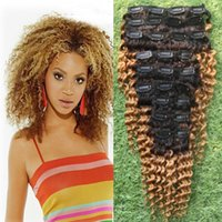Wholesale ombre brazilian clip hair extensions resale online - 1B Virgin Mongolian Afro Kinky Curly Clip In Human Hair Extensions Set Clips B C Ombre Hair Clips For Ponatail Remy Hair