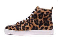 Wholesale Pink Leopard Shoes - (With Box)New High Top Multicolored Glitter Men&Women Shoes Top Quality Pink Purple Genuine Leather Casual Camo Leopard Red Bottom Shoes