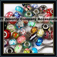 mischen silberne glasperlen großhandel-100 stücke 925 markiert silber glas Bead Charms Pandora Armband mischauftrag