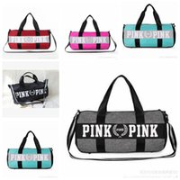 Wholesale Travel Accessories Bags Women - Women Handbags Pink Letter Large Capacity Travel Duffle Striped Waterproof Beach Bag Shoulder Bag