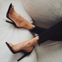 Wholesale wedding shoes sandals crystal heels online - 2017 Hot Sale PVC Women Platform Sandals Super High Heels Waterproof Female Transparent Crystal Wedding Shoes Sandalia Feminina