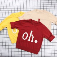 ingrosso vestiti di bambino europee-Top scollo a V a maniche corte in cotone con motivo
