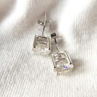 Wholesale moissanite carat earrings resale online - Genuine14K White Gold Push Back Carat ctw F Color Test Positive Lab Grown Moissanite Diamond Earrings For Women