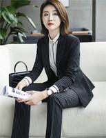 22f782006a13 2018 Elegant Office Ladies Uniform Designs Pants Suits Formal Jackets With Pants  Skirt Female Business Suit Stripe Trouser Skirt Suit