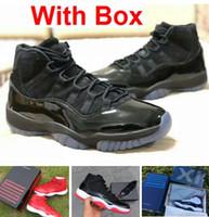 karartma ayakkabıları toptan satış-Karartma 11 s balo gece 11 Gerçek karbon fiber En Kaliteli Spor Kırmızı Gama mavi Midnight Donanma Basketbol ayakkabı Kutusu Ile Concord Bred