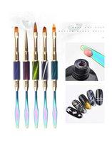 kullanılmış tırnak fırçaları toptan satış-1 Takım Nail Art Fırça Kalemler UV Jel Oje Boyama Çizim Fırça Seti Manikür Araçları Pedikür Kiti Salon Ev Kullanımı Boyama Kalemi