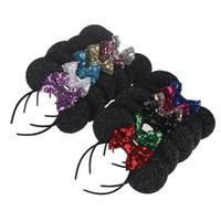 ingrosso i bambini vestono la fascia-2018 nuovi paillettes big bow accessori per capelli bambino mouse orecchio forma vacanza vestire fascia per bambini