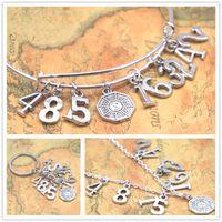 nummer 12 charme großhandel-12 teile / los Dharma Inspiriert halskette Lost Tv zeigen Inspiriert Zahlen charme anhänger halskette armreif schlüsselanhänger