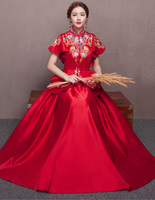 17619fe45 Red Cheongsam summer clothes Xiuhe toast clothing the bride cheongsam wedding  dress For Overseas Chinese short sleeved gown