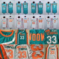 maillot de basket cousu achat en gros de-Hommes 7 Café Noir 33 Jackie Moon 69 Centre-ville 11 ED Monix Flint Tropics Semi Pro Film Jersey 100% Cousu Basketball Jersey
