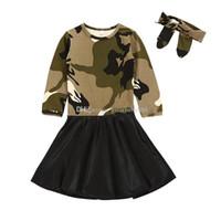 хлопок детские халаты оптовых-2018 новый ребенок камуфляж платье хлопок PU Принцесса платья с повязками мода Детская одежда бутик девушки бальное платье C3393
