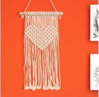 ingrosso arazzi fatti a mano-Hanging Bohemian Macrame Handmade Handmade Tapestry Knitting Wall Tapisserie Decorazione Della Casa Cuore Arazzi 50 * 30 cm KKA4341