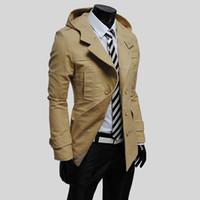 rompevientos de algodón para hombres al por mayor-Moda otoño invierno algodón hombres rompevientos trinchera doble abrigo de trench de pecho con capucha abrigo hombre