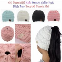 Wholesale Knit Children - Kids CC Ponytail Hats Knitted CC Trendy Beanie Winter Oversized Chunky Skull Caps Soft Cable Knit Slouchy Crochet Hats Outdoor Hats YYA991