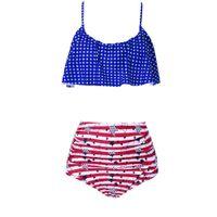 33f43b644d811 Fashion Push up Plus size swimdress Retro ruffle strip star dot Slimming  two pieces bathing suit female Hollow out swimwear swimsuit