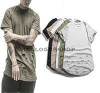 Wholesale vintage tee shirt designs - Fashion New Lengthened Solid Color Tee Kanye High Streetwear Short Sleeve Personality Hole Design Crew Neck T-shirts for Men Vintage