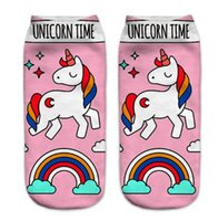Wholesale wholesale socks for women for sale - 3D Printed Unicorn Socks Cute Unicorn Pattern Ankle Socks for Men Women Teenager Low Cartoon Cute Ankle Sock Funny Ankle Cotton Socks