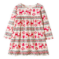 Wholesale designer baby clothes - Kids Jersey Dress Flower Baby Girl Dress Christmas Children Clothing Designer Long Sleeve Girl Dress with Appliques