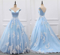 Wholesale Elegant Baby Dress Organza - Actual Image Elegant Baby Blue With Ivory Lace Applique Dresses Evening Party Wear Off shoulder Sleeves Organza Formal Prom Gowns Long