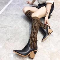 chunky oberschenkel hohe stiefel großhandel-Mode Luxus Designer Damen Stiefel Sexy gestrickte Socken Oberschenkel hohe Stiefel klobige Ferse F Marke Damen Winter Stiefel