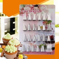Wholesale christmas bakeware - 24Pcs Cake Decorating Tip Sets Cake Flower Nozzles Pastry Tips DIY Cake Cream Bakeware Baking Tool Stainless steel NNA375