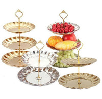 Wholesale halloween desserts - 2 3 Layers Fruit Plates Stand Pastry Tray Candy Dishes Cake Desserts Stainless Steel Party Home Decoration Wedding Decorations