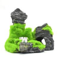 peyzaj dağları toptan satış-Toptan Yapay Bitki Reçine Akvaryum Peyzaj Dekor Balık Karides Yuva Moss Kaya Dağ Dodge Evi Akın Moss Rockery