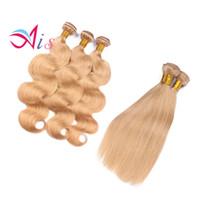 honig blonde erweiterungen großhandel-Brasilianisches Haar gerade oder Körperwelle Haar spinnt Farbe 27 # Remy Menschenhaareinschlag Honig blonde Erweiterungen