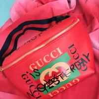 pequeñas bolsas de embalaje al por mayor-2017NUEVA TOP PU Mujeres bolsa de cintura bolsa de cinturón hombres fanny pack diseñador hombres paquete de la cintura bolsa pequeña graffiti vientre bolsas de cintura # 7878
