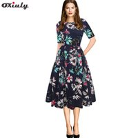 2f773ac925 Wholesale casual knee length skater dress online - Elegant Women s Dresses  Vintage Floral Printed Tunic