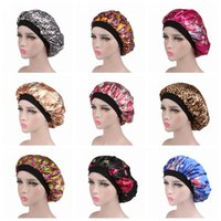 11eb0602009 10Colors Wide Band Satin Bonnet Cap Floral Printed comfortable night sleep  hat Luxury hair loss cap women hat cap turbante Beanies AAAA1084