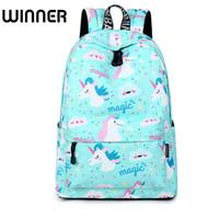 Wholesale girl laptops online - Waterproof Canvas Unicorn Animal Printing Women School Backpack inch Travel Laptop Bagpack Blue kawaii Bookbag for Girl