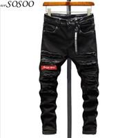 patch coréen achat en gros de-Jeans déchirés pour hommes nouveaux hommes jeans Patches peur de Dieu de style coréen fit slim # DLL713
