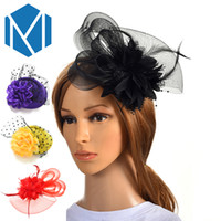Wholesale wedding veil ornaments resale online - 2018 New Fashion Elegant Bride Feather Fascinator Hairpins for Wedding Party Hair Clip French Mesh Veil Hair Hoop Ornaments
