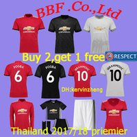 Wholesale Xxl Women Tops - TOP Thailand premier 17 18 Home Soccer Jersey Ibrahimovic MARTIAL LUKAKU POGBA MKHITARYAN RASHFORD HERRERA kidskit women 1819 football Shirt
