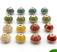 Wholesale diy loose ceramic beads - 50 pcs 15*13mm , hole size about 2.5mm Porcelain Beads,mixed color,ceramic DIY loose beads jewelry finding