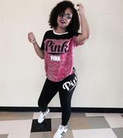 Wholesale Sport Short Pants For Women - Women Pink Letter Print Short Sleeve Crop Top Bodycon Long Pant 2pcs set Outfits Jumpsuit Sport Sweatsuit for Girls Ladies