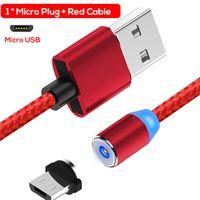 indicador de carga led usb al por mayor-Cable magnético Cables del teléfono celular 360 ° Round Max 2.1A Indicador LED de carga rápida para iPhone Micro USB Tipo C