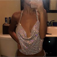 Wholesale Sexy Metal Clothing - 2017 New Sexy Tanks Crop Tops Halter Chic Metal Sequins Chain Deep V Ladies Adjustable Shoulder Short Vest Clothes