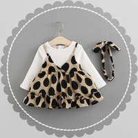 Wholesale long length hair styles online - Girl s Dresses Autumn new female baby princess dress fashion cotton long sleeved fake two piece child skirt hair band
