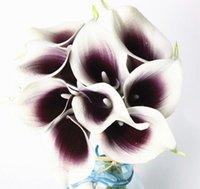 gelin düğün buketi mor toptan satış-24 adet Mor Kalp Mini Calla Zambak 14 Calla Zambak Gelin Düğün Buket Lateks Gerçek Dokunmatik Çiçek Demet Ev Dekor