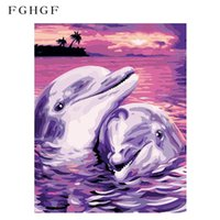 Wholesale modern romantic paintings - FGHGF Frameless Dolphin Lover DIY Painting By Numbers Romantic Modern Wall Art Picture Unique Gift For Home Decor 40x50cm